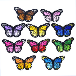 Wholesale kids sizes clothes online – design 10 Big Size Butterfly Stripe Patch for Kid Clothes Ironing on Patch Applique Sewing Embroidered Patches DIY Labels Backpack Accessories