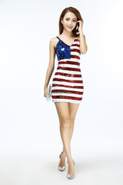 sexy geometric dress Australia - Mini Sequin Sexy Ladies Vertical American USA Flag Club Bodycon Body Club Cocktail Fancy Party Dress Costume Outfits