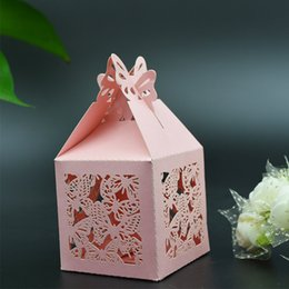 Emballage De Boîtes À Gâteaux De Mariage Pas Cher-100pcs / lot Mini Paper Candy Box Butterfly Design Sweetmeat Packing Case Wedding Party Sac à main en chocolat Sweet Holder Wc145