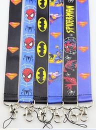 $enCountryForm.capitalKeyWord Canada - Free Shipping 10pcs Cartoon Superman batman Super hero Neck Lanyard key chain Mobile cell phone neck straps charms
