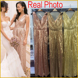 Vestidos Baratos De La Dama De Honor Baratos-Bling Rose Gold V cuello con lentejuelas dama de Honor Vestidos Backless Plus Size Long Beach dama de honor nupcial fiesta vestidos de noche 2017 por encargo barato