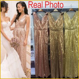 Barato Vestidos De Festa De Tamanho Maior-Bling Rose Gold V Neck Sequined Maid of Honor Vestidos Backless Plus Size Long Beach Bridesmaid Bridal Party Evening Gowns 2017 Custom barato