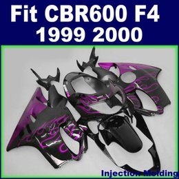 cbr f4 fairings NZ - 7Gifts +100% Injection molding for HONDA fairings CBR600 F4 1999 2000 purple flame in black 99 00 cbr 600 f4 fairings kits OADG