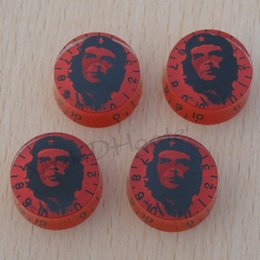 head portraits NZ - 4pcs Red with head portrait Guitar Speed Knobs For Electric Guitar or Bass