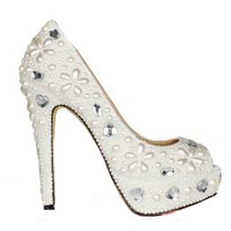 Bridesmaids slip dresses online shopping - Handmade Spring Women Platforms Ivory Pearl Peep Toe Wedding Bridal Shoes Crystal Evening Party Dress Pumps Bridesmaid Shoes