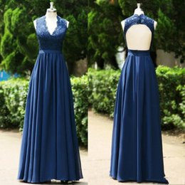 $enCountryForm.capitalKeyWord NZ - Fashion Navy Evening Dresses Formal V neck Lace Backless Top A Line Chiffon Fabric Party Prom Gowns High Quality