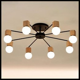 Wood LED Ceiling Lights Living Room Bedroom Childrens Lamp Modern Study Lustre Baby Home Lighting Chandelier Fixture