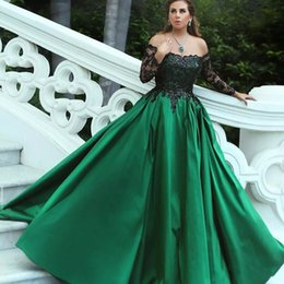 light coral lace dress long 2019 - Dark Green Satin Plus Size Evening Dresses 2018 Off Shoulder Long Sleeves Sequins Lace Saudi Arabic Ball Gown Prom Dress