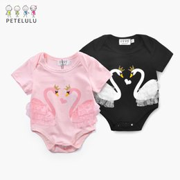Doble Manga Corta Baratos-Baby Girls Rompers Toddler kids Double Swan Cartoon Lace Rompers Niños de manga corta niños lindos Jumpsuits Newborn jumpers Black Pink A7967