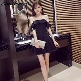 Barato Lingerie Dresses Slash-Venda quente Mulheres Slash Neck Ruffle Nightclub Costumes Dress Ladies 2017 Summer New Black Clothing Flat Off Shoulder Sexy Lingerie