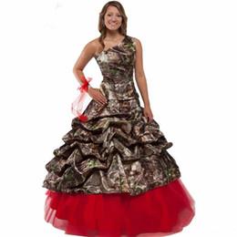 Новая Мода Одно Плечо Ruched Свадебное Платье 2016 Красный Зеленый Синий Камуфляж Свадебное Платье Свадебные Длина Пола