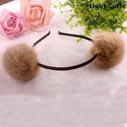 Cheerleader Hair Canada - Charm Women Girls Fur PomPom Ball Hair Accessories Elastic Headwear Daughter Sweet Gift Cheerleader Hair Accessories Party Decoration Suppli