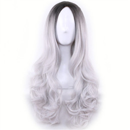 Wholesale Long Cheap Cospaly Wig Harajuku Lolita Wig Black Ombre Grey Body Wave Synthetic Hair Mix Color Wigs for Women Synthetic Wig