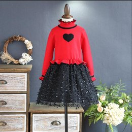 Chicas Tutus Marrones Baratos-Everweekend Girls Heart Knit Tulle Ruffles Dress Princesa rojo rosa y marrón Color Western Fashion Autumn Party Clothes
