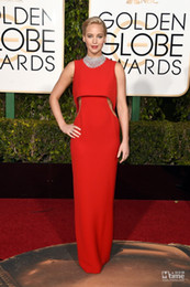 golden chiffon gowns 2019 - 2016 Jennifer Lawrence Golden Globe Award Evening Gown Wear Celebrity Dresses Evening Gowns Party Formal Red Carpet Prom