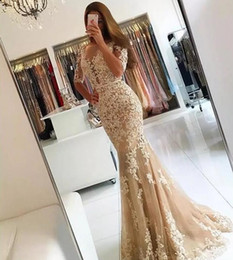 robe fashion longue NZ - Champagne Tulle Mermaid Evening Dresses 2019 Sexy Backless Long Prom Party Gowns Half Sleeves Ivory Lace Applique Robe Longue Femme Soiree