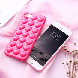 1d4e32b00ec9c 3D Peach Loving Heart Case For iphone 8 X 7 Plus Soft Silicone Lovers Jelly  Phone Cover for 7 6s 6 Plus Back Shell with Lanyard Hang Rope