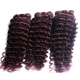 cheap burgundy hair weave 2019 - 8A Grade Burgundy Peruvian Deep Wave Virgin Hair Bundles#99j Cheap Human Hair Weaves 3pcs Double Hair Weft Extensions 10