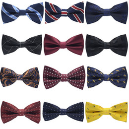 online shopping New Fashion Tuxedo Bow tie Men Striped Dot Groom Groomsmen Wedding Party Colorful Striped Butterfly Cravats Wedding Suits Accessories