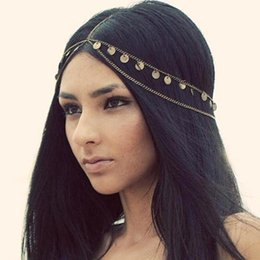 Barato Dançando Headband-Alta qualidade 2016 Cheap Bohemian Tassel Chain HeadBands 2015 Wave Shiny Piece Mulheres Dance Hair Jewelry Sequins Lady Head Chain Jewelry