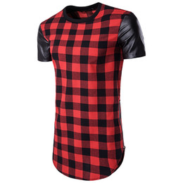 $enCountryForm.capitalKeyWord UK - Hip-Hop High Street Men's Plaid Leather Shirts Man Brand Fight Skin Bilateral Zipper Short-Sleeved T-shirt Fashion Irregular Tees for Men