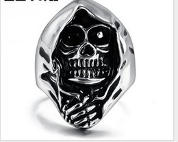 Discount skull rings - Europe punk hip-hop fashion personality Hallowmas skull Men's titanium steel ring mix size 8-13# RC-011