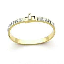 Discount spinning diamond - Titanium steel jewelry wholesale trade stainless steel bracelet swan bilateral mud drill spin buckle bracelet 18K gold f