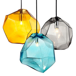 Chinese  Creative Colored Glass Dining Room Pendant Lamp Fashion Simple Bar Cafe Pendant Lights living Room Decorative Pendant Lighting manufacturers