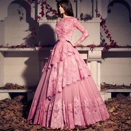 Robe De Bal Seule Manche Rose Pas Cher-Tarek Sinno Robes de soiree Rose One Shoulder Lace Tiered Beading Sequins Single Long Transparent Sleeve Ball Gown Robes de bal Robe de soirée