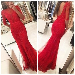 Barato Belo Vermelho Vestidos À Noite-Red Vestidos De Soiree Lace Sheer Half Sleeves Lace Prom Dresses Backless Beading Sequins Sequins Long Formal Evening Party Gowns Bonito