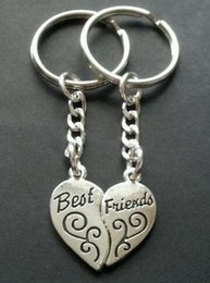 Heart Shaped Chains For Couples Canada - Vintage Silver Best Friends BFF Couple Keychain Heart Shape Handcuffs Key Chain For Keys Car Bag Key Ring Handbag Key Chains