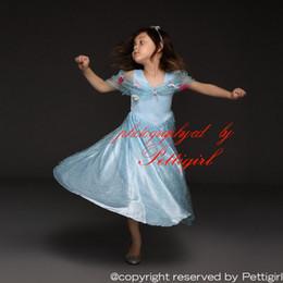 Kids party wear gown dress online shopping - Pettigirl Retail Blue Cinderella Princess Dresses Movie Cosplay With Flowers Kids Party Dress Eelegant Summer Wear Drop Shopping GD50613
