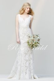 Beads Styles Pictures Canada - 2020 NEW HOT Cheap Dress Elegant Lace New A Line Style Sleeveless White Ivory Backless Column Wedding Bridal Gown