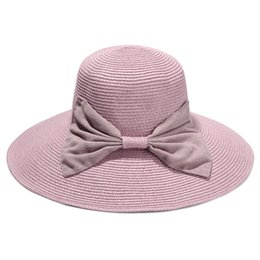 aa1f982a639 Wholesale- Women Summer Straw Hat Ladies Elegant Large Brim Beach Sun Hats  With Bowknot Holiday Sombrero Mujer