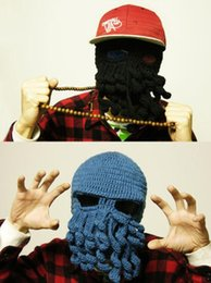 Crochet Drôle Pas Cher-Hot vente meilleur prix Nouveauté fait à la main en laine de bonneterie Funny Beard Invité Octopus Hatscaps Noël Party Crocheted beanies unisexe cadeau