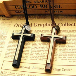 $enCountryForm.capitalKeyWord Canada - Xmas gifts Double alloy wooden Cross pendant necklace vintage sweater chain Leather cord men women jewelry handmade stylish