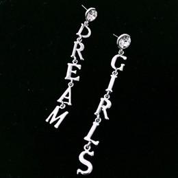 Crystal Stud Metal Australia - Fashion Women Metal Letter Dream Long Stud earrings Punk jewelry Crystal Girls earrings pendant Gift Gold earrings Brincos