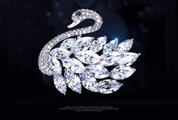 south korean clothes 2018 - Brooch South Korea New High-End Swan Brooch Hand-Made Design Corsage Zircon Pin Korean Fashion Dress Brooches Pin Jewel