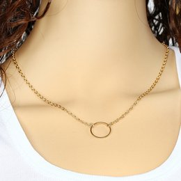 $enCountryForm.capitalKeyWord Canada - The Bohemia Circle Necklaces Pendant Unique Charming Bar Lariat Necklace Women gift Silver Gold Plated Chain Long Pendant Necklaces
