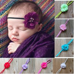 Hair Angles Canada - 5%offhousaleHair accessories retail infant Baby Girl Kids multi angle ribbon flower with pearl center baby headband skinny hair band 10pcs l