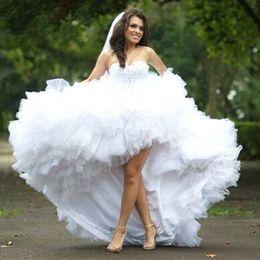 $enCountryForm.capitalKeyWord Canada - Sweetheart High Low Tiered Wedding Dresses With Ruffles 2015 Vestido De Noiva Long Plus Size Wedding Gowns Formal Bride Dress