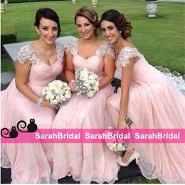 chiffon coral gown sale Canada - Elegant Chiffon Long Wedding Bridesmaid Dresses with Cap Sleeves Beaded Bridal Party Gowns Cheap for Sale Junior Maid of Honor Wear New