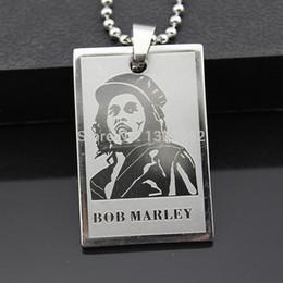 $enCountryForm.capitalKeyWord UK - Cool Boy Men's Reggae Singer Bob Marley Pendant Stainless Steel Dog Tag Chain Necklace Gift MN292