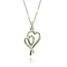 $enCountryForm.capitalKeyWord Canada - Fashion Double Heart Pendant Necklace White Rhinestone Silver Plated Necklace For Lover Romantic Valentines Day Gift Jewelry