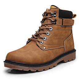 Ankle High Cowboy Boots Men Canada - Brown 2018 men Autumn Winter Men Tooling Boots High Top Lace Up Army Ankle Boots High Quality Male Martin Boots Men's Footwear