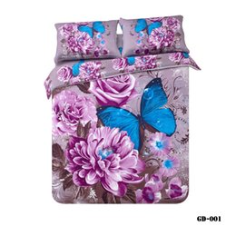 wholesale37 piece 100 organic cotton 3d duvet cover bedding sets luxury purple butterfly bed sheet satin 3d bed linen