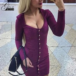 Barato Pescoço Pescoço Sexy-Ouro Mãos Brand New Autumn Spring Women Dress Slim Sexy Quadrado Pescoço Long Sleeve Outwear Moda Vestidos Single Breasted