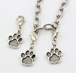 paw print bracelets 2019 - Hot Sales ! 200pcs Antique Silver Tone Paw Print Charm With lobster clasp Fit Charm Bracelets DIY Jewelry 12x29 mm cheap
