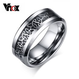 tungsten carbide fiber ring Canada - Vnox Trendy Tungsten Carbide Men's Ring Carbon Fiber Material Black Gun Plated Men Jewelry 8mm Ring For Men