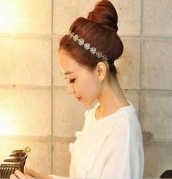 Discount rhinestone ladies hair accessories - 2015 Fashion Lovely Metallic Lady Hollow Rose Flower Elastic Hair Headbands Gold Headpieces Headwear Accessories Women W
